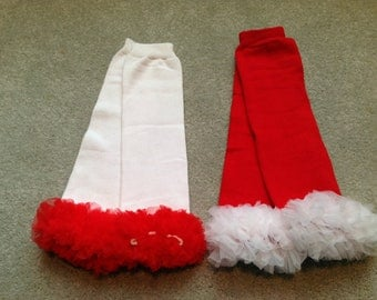 White with Red Ruffle OR Red with White Ruffle, Baby Leg Warmers, Leg Warmers for Girls, Infant Leg Warmers, Leg Warmers for Babies
