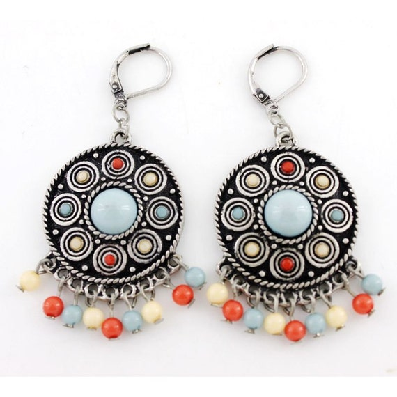 Cute Simple Silver-tone Small Round Beads Lever Back Dangle Drop Earrings