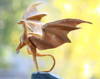 Dragon. Golden color OOAK figure.