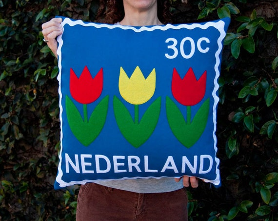 SALE - Dutch tulips stamp cushion cover