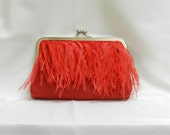 Red suede with ostrich feather trim