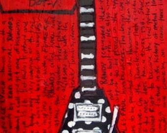 80's Metal Art. Guitar Art. Randy Rhoads Flying V guitar 11x17 art print. Ozzy Osbourne.