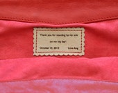 Personalization. Personalize bag or clutch with name / message.