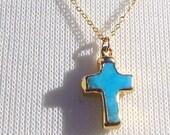 Turquoise Cross Necklace - Minimalist Everyday Necklace - 24k gold edged Turquoise Cross - Gold Fill Chain