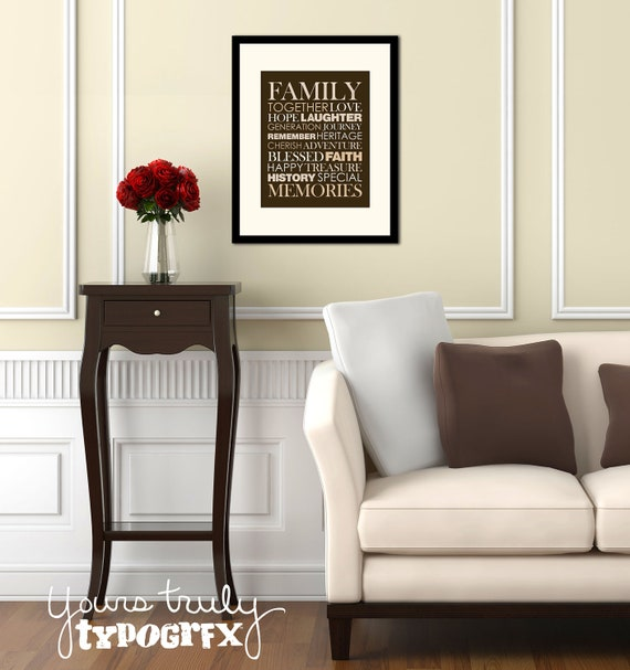 Family Themed Typography Word Art - 8x10 Matted Print in 11x14 Frame - Available in Your Choice of Colors