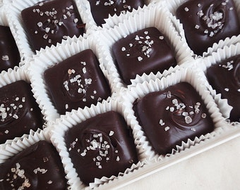 1 lb box (24 peices) Dark Chocolate Sea Salt Salted Caramels Candies Confections
