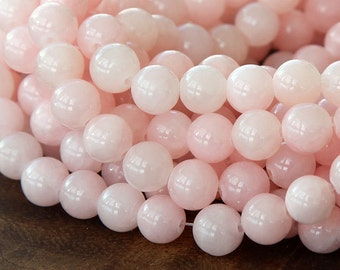 Mountain Jade Beads, Blush Pink, 8mm Round - 15 Inch Strand - eMJR-A01-8