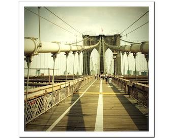 Fine Art Photography, NYC Brooklyn Bridge Photograph, New York City Urban Landscape, Canvas or Photo Paper Print 8x8