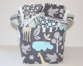 Baby gift basket, Baby Zoology Sea, stripes and Dots, Burp cloth set, Wash cloth set, bib and  fabric storage bucket.