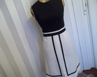 Vintage 60s  modern mid century 1960s black and white sleevless modern classic dress by hermina's cottage