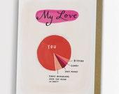 Love Pie Chart Card, Funny Love Card, Anniversary Card / No. 149-C