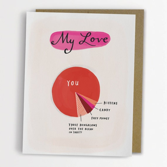 Love Pie Chart Card Funny Love Card Anniversary Card No