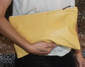 "Upcycled, Lined Buttery Yellow Leather Foldover Clutch  - 10"" wide"