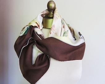 50s silk scarf,  birds shooting,  autumn scarf,  fall accusatory, mid century scarf, square headscarf, swing era scarf, 50s fashion