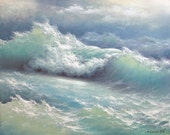 """355 - """"Stormy waves"""", 11"""" x 14"""" Gallery Wrap Canvas giclee print"""