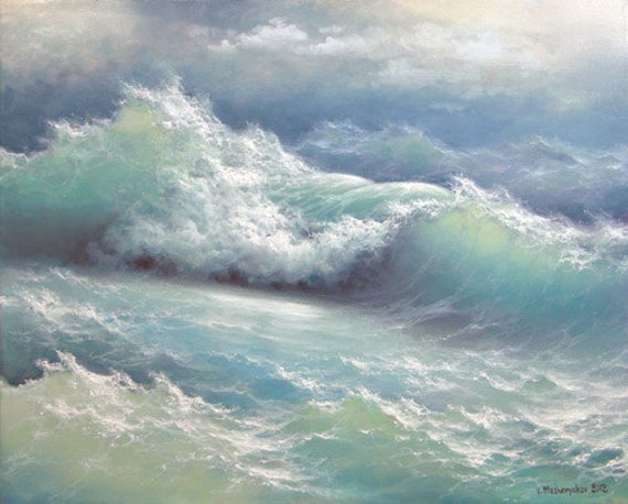 """Stormy waves, 16"""" x 20"""" original oil on canvas"""