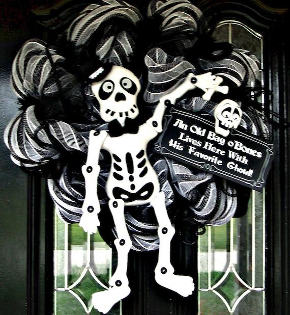 SALE SALE Deco Mesh Halloween Mr. Bones Door Wreath - Reserved for Kim