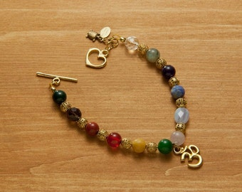 Chakra Gemstone Bracelet with 24kt Gold Plated HEART Toggle