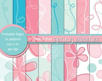 PRINTABLE Paper 12x12 inch - Spring Doodles Pink & Blue - INSTANT DOWNLOAD