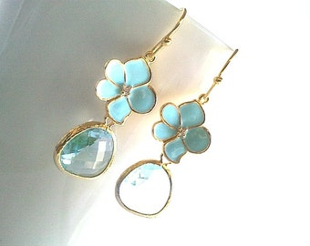 Aqua with Baby Blue Flower Gold Earrings,Drop, Dangle, Glass Earrings,bridesmaid gifts,Wedding jewelry,christmas gift, cocktail jewelry
