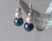 SALE - Gray, Pink & Blue Pearl Earrings