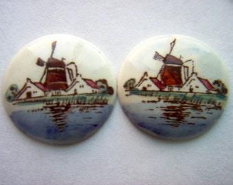 Vintage Dutch Windmill Ceramic Cabochon x 2    # G 13