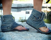 Jeans sandal boots, handmade by Dani.K shoes. Us 8.5. Euro size 39.