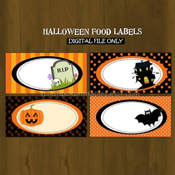 Halloween green Printable Food Labels Halloween by ... |Halloween Party Food Labels