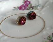 Purple Druzy Oval Stud Earrings