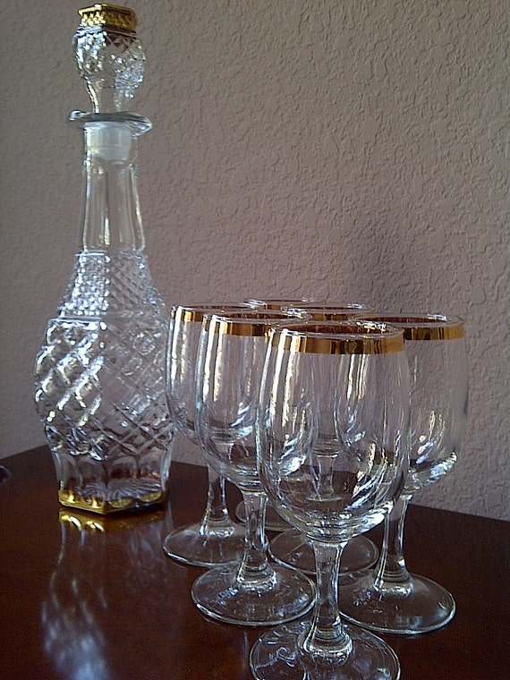 REDUCED Vintage Cronzini Fine Crystal Wine Decanter with Six Glasses 14K Gold