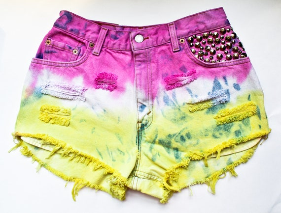 Studded High Waisted Jean Shorts Levi's Vintage Denim Destroyed Cut Offs Pink and Yellow Ombre Dyed