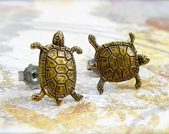 Turtle - antique brass post earrings