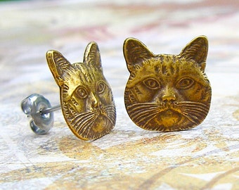 Kitty Cat - antique brass post earrings