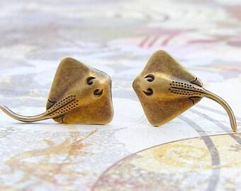 Stingray - antique brass finish post earrings, surgical steel earrings