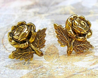 Rose Cutting - antique gold post earrings