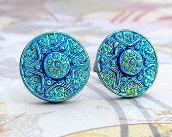 Blue Star - Czech glass button stud earrings