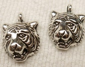 Antique Silver Tiger Head Charm, Pendant (6) - S88