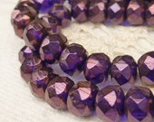 6x8 Metallic Purple Blue Faceted Rondelle Glass Czech Beads, 1 Strand