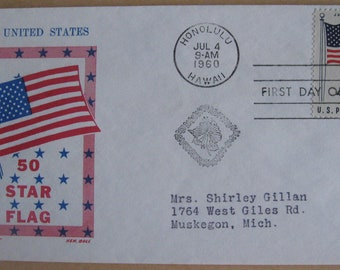 Vintage First Day Cover Issue The United States 50 STAR FLAG Stamped Envelope 1960