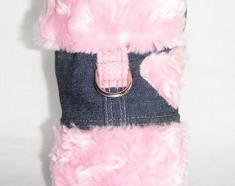 Dog Harness - Denim coat w/pink swirl fur - Size XXS, XS, S, M (Made to order)