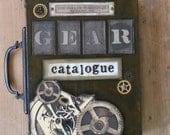 Gear Steampunk Industrial Original Mixed Media Art Collage Book Painting Gear Catalogue