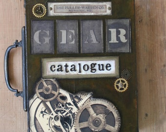 Gear Steampunk Industrial Original Mixed Media Art Collage Book Painting Gear Catalogue