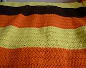 """vintage 70's 70""""x54"""" tri-color band stripe orange yellow and dark chocolate brown hand knit afghan blanket fall autumn colors golden sunset"""