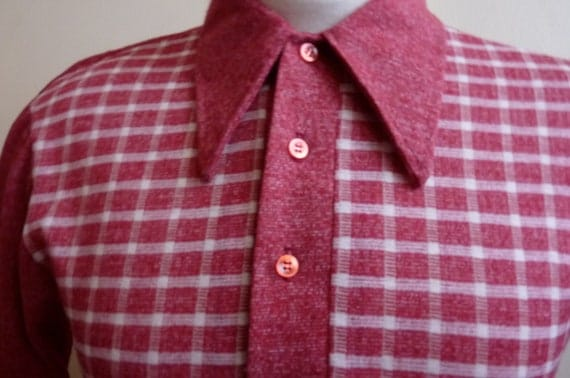 60's/70s red/white textured checkered panel front and textured red and white contrast sleeves back /collar/placket long sleeved polo shirt,