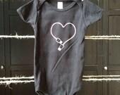 USB love geek or nerd - Hand printed baby onesie design