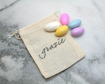 "Wedding mini favor bags, muslin, 2x4. Set of 50. Italian ""Grazie"" in black on natural white cotton.  Perfect for customary sugared almonds."