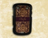 Deep eggplant purple damask, monogrammed cover - Samsung Galaxy S3, S4, Samsung Galaxy Note 1, HTC One X, Blackberry 9900 case (9891)