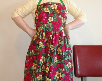 Holiday Hostess Apron with Poinsettias and Ribbons-Size Large