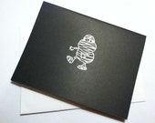 Hand Embossed Halloween Shimmery Silver Mummy Card - 4 1/4 x 5 1/2 inch with envelope