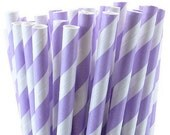 Purple Striped Straws, set of 50